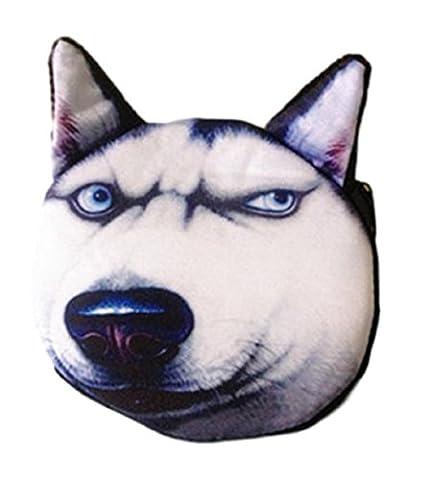 Flauschiger Kindergeldbeutel / Kinderportemonnaie (Münzbörse) mit süßem Hundemotiv (Hündchen/Welpen als 3D Animal Print) inkl. Plüsch-Ohren (mit Reißverschluss) (Schwarz-Weiß (Schäferhund))