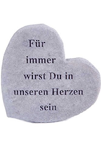 Gedenkstein Für immer wirst Du in unseren Herzen sein Steinguss 17 x 15 cm Grabschmuck