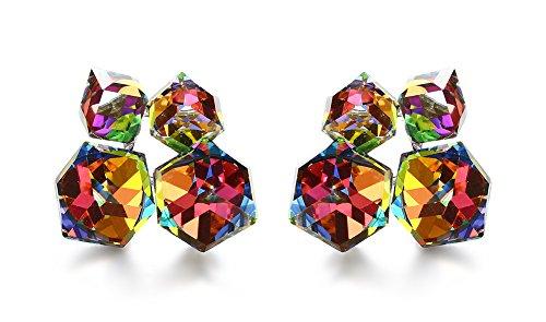 Vnox Frauen Mädchen Messing Regenbogen Kristall 2 Ton Würfel quadratische Bolzen Ohrringe für (Senf Kind Kostüme)