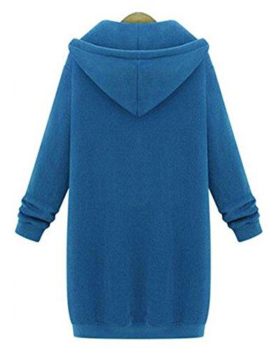 Femme Hoodies Sweatshirt Avec Capuche Chaude Casual Veste Sweats Cardigan Longue Manteau Bleu