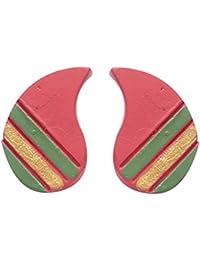 Terramart_ Handmade Terracotta Earring Set Jewellery For Women / Girls ( Red, Green & Gold )