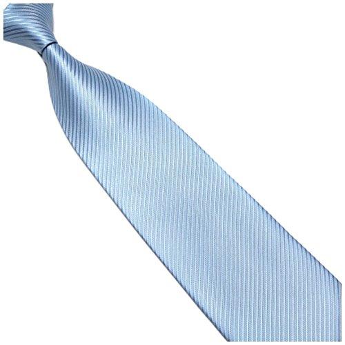 Breite 10cm Krawatte Blau Hellblau gestreift - Seiden-mischung - Gewebte Streifen - Blaue Kravatte zum Anzug - Herren-Krawatte - Schlips - Binder - von GASSANI MILANO