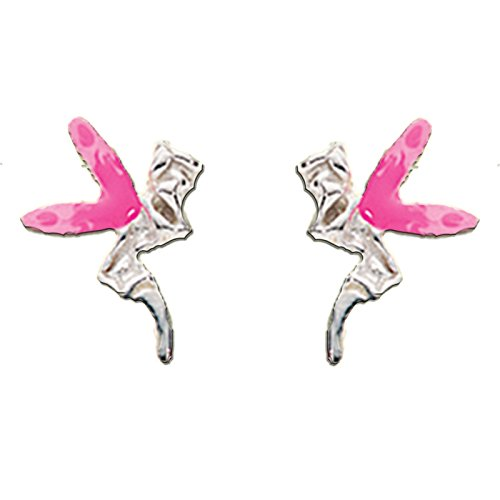 ling Silbere Beschlagnagel Ohrringe Fee Engelsflügel Zahn Fliege ganz Rosa 61A802P, Schmetterlingsschloss - das freies Geschenk in Kisten verpackte (Zahn Ohrringe)