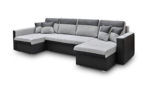 mb-moebel große Ecksofa Sofa Eckcouch Couch mit Schlaffunktion und Drei Bettkasten Ottomane U-Form Schlafsofa Bettsofa - Berlin U (Ecksofa Links, Schwarz)