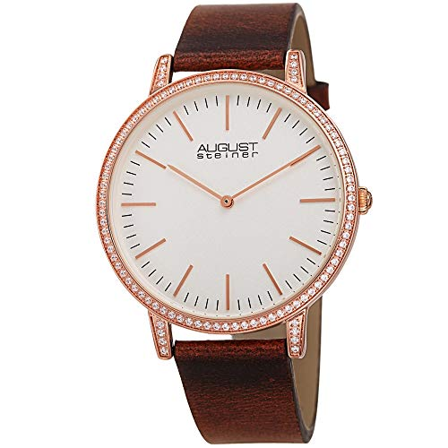Geprägte Slim-sets (August Steiner Slim Case with Crystals - Sparkling Crystals Set Around Bezel and Lugs Designer Men's Watch - Genuine Leather Strap - AS8273 (Brown Strap and White Dial))