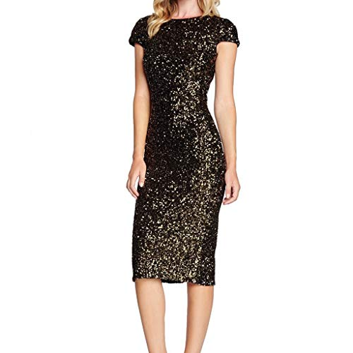 Amphia - Rückenfreies Damen-Kleid mit Pailletten,Glitzy Glam Pailletten-Kurzarm Flapper Party Club Kleid für Damen