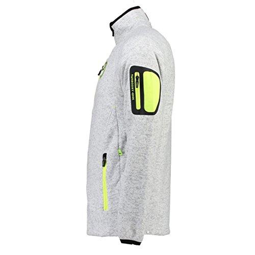 Geographical Norway warme Herren Sweat Fleece Jacke für Outdoor & Freizeit - Model TRIANGLE MEN 007 White
