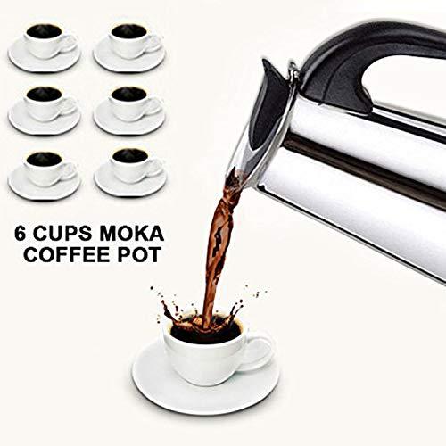 Italienischer Espressokocher für den Herd, Mokka Kaffeekanne - Hochwertige Polierte Edelstahl Kaffeemaschine mit einem Dauerfilter und Hitzebeständigem Griff -