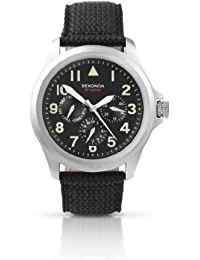 Sekonda Hombres reloj de cuarzo con Esfera Negra Pantalla Con Cronógrafo y Nylon Negro Correa 3445.71