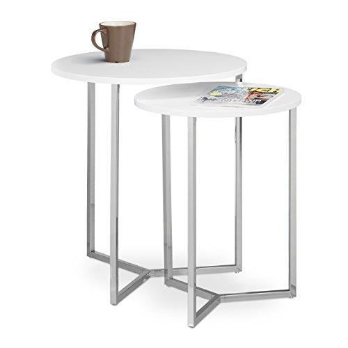 Relaxdays Beistelltisch rund 2er Set, Wohnzimmertische Holz Tischplatte, 3 Metallbeine, verchromt, D: 50 und 40 cm, weiß