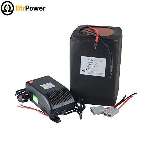 BtrPower 48V 30Ah Ebike Lithium Batterie Pack für 1500 W Elektro-Fahrrad-Scooter, inklusive Batterie-Ladegerät, BMS