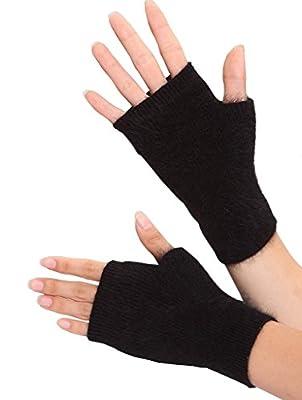 Romano Women's Winter Wool Half Finger Gloves Cute Fingerless Gloves Mitts Gift for Girlfriend Wife Lover Mother