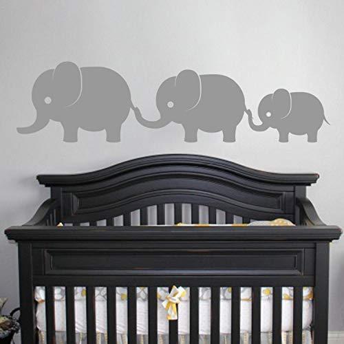Niedliche Elefanten Familie Wand Vinyl Aufkleber Aufkleber Elefanten Baby Mädchen Jungen Kinderzimmer Wandkunst Kinder Zimmer Dschungel Thema Dekor (Baby Zimmer Dschungel-thema)