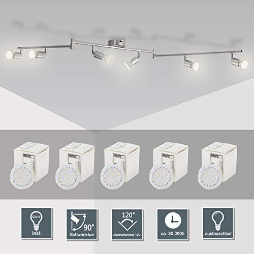 LED Deckenleuchte Schwenkbar (Inkl. 6 x 5,5W GU10 LED Lampe, kaltweiß), LED Deckenlampe/LED Deckenstrahler/LED Deckenspot Deckenlampe für Wohnzimmer, Küche, Flur mit GU10-Fassung