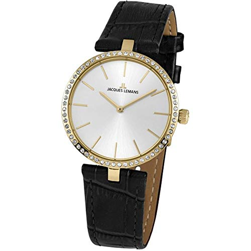 Jacques Lemans Women's Milano 34mm Black Leather Band Quartz Watch 1-2024L