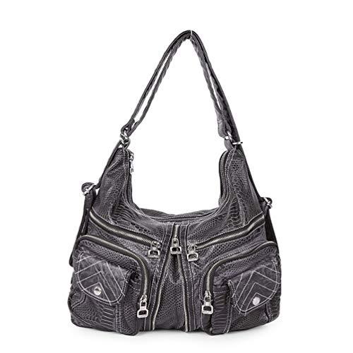 Pu Taschen serpentin Handtasche für Frauen große umhängetasche weibliche umhängetasche Mode Schultasche Einkaufstasche Black 27cmX11cmX43cm -