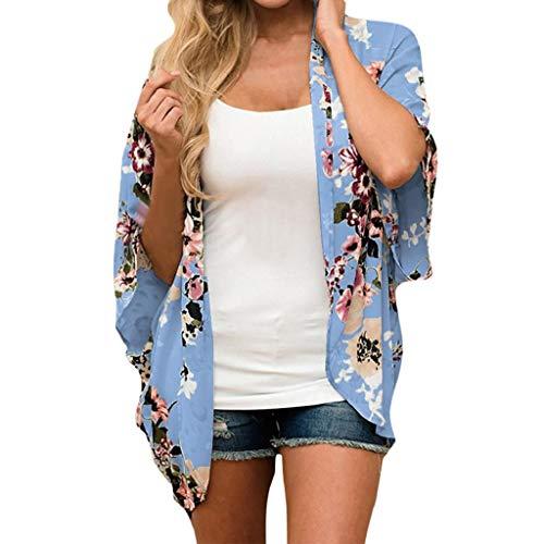 Rovinci Damen Chiffon Kimono Cardigan Plus Size Blumen Print 3/4 Arm Sommer Cover Up Boho Vintage...