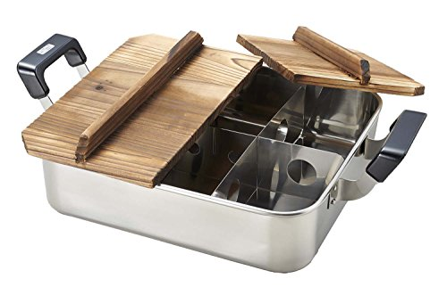 Hearthstone stainless steel wood lid with square Oden pot 28 × 24cm (partition Backed) H-4827 by Pearl Metal