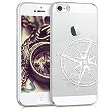 kwmobile Coque Apple iPhone Se / 5 / 5S - Coque pour Apple iPhone Se / 5 / 5S - Housse de téléphone en Silicone Blanc-Transparent