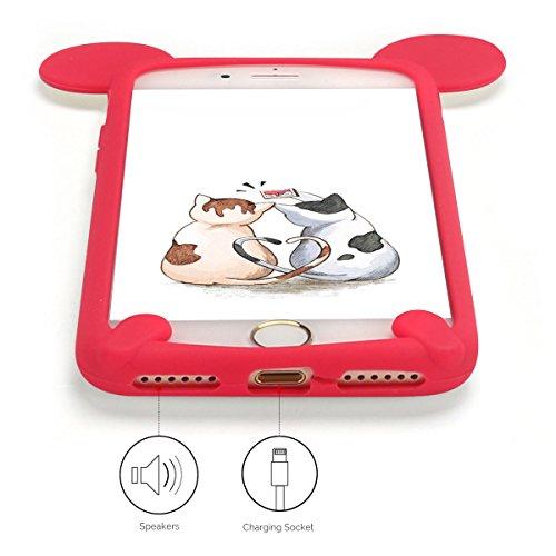 Cover iPhone 7 Case iPhone 8 Custodia Spiritsun Soft TPU Candy Handy Case Cover 3D Cartoon Case Elegante Flexible Morbida Ultra Silicone Ultra Sottile Case Phone Cover Case Per iPhone 7/8 (4.7 Pollici Rosso