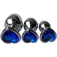 WINWINTOM Cristal Metal Backyard Enchufe de acero inoxidable Anal Hitch (L, Azul)