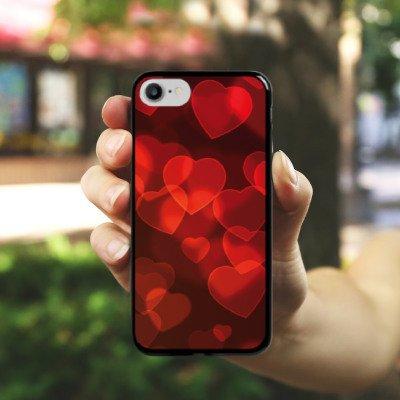 Apple iPhone X Silikon Hülle Case Schutzhülle verblasste Herz Muster Rot Hard Case schwarz
