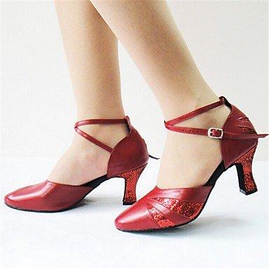 Silence @ Chaussures de danse pour femme Paillettes en similicuir/Flocage Latin/moderne Sandales/talons noir