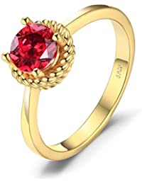 JewelryPalace Moda 1ct Anillo Ruby Solitaire 925 Plata Esterlina