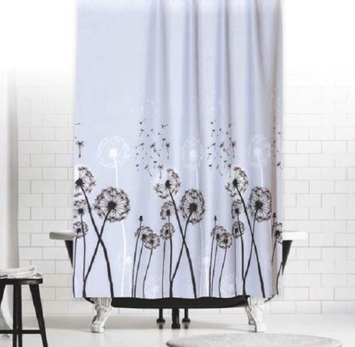 TEXTIL DUSCHVORHANG PUSTEBLUME 180x200 cm GRAU SCHWARZ WEISS GARDINE BLUMEN! SHOWER CURTAIN grey black white