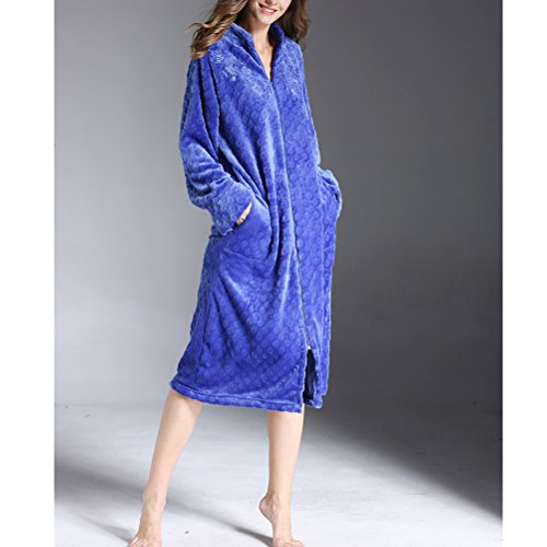 Zhhlaixing Exquisite Embroidery Flannel Warmth Accappatoio Pajamas Winter Donne Zipper Long Nightdress,Plus Size Gem blue