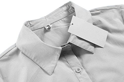BeautyUU Damen Hemd Langarm Bluse Einfarbig Arbeitshemd Freizeithemd Business Hemd Baumwolle 1-Hellgrau