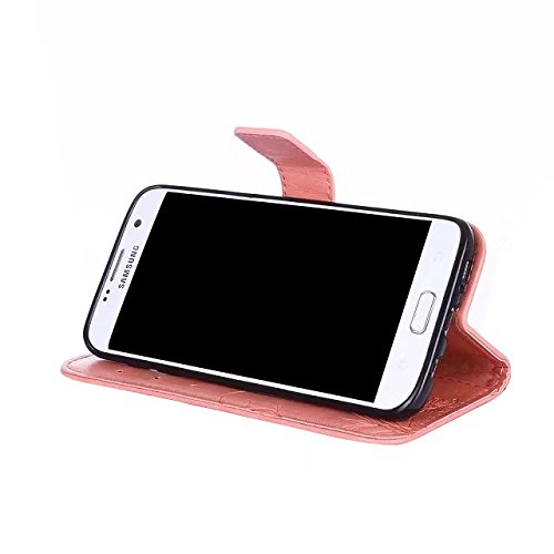 Horizontale Bookstyle Flip Case Premium PU Ledertasche, Solid Color Embossed Blumen Schutzbrieftasche Case Cover mit Lanyard & Stand für Samsung Galaxy S7 Edge ( Color : Modena ) Pink
