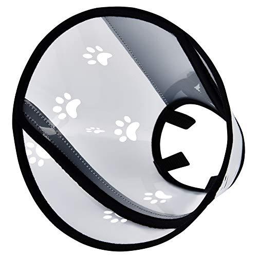 Furpaw Halskrausen Hunde, Schutzkragen für Haustiere Elisabethanischer Kragen mit Klettverschluss, Halsband in Transparent Kunststoff (M, 23,5-35cm)