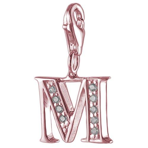 Melina Damen-Charm Bettelarmband Anhänger Buchstabe M Zirkonia vergoldet Rotgold/Rosegold 925 Silber - 1801609