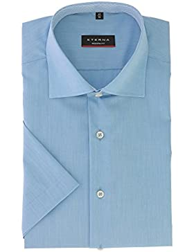 ETERNA Herren Kurzarm Hemd aus 100% Baumwolle Modern Fit mit Kent Kragen leicht tailliert geschnitten Gr. 45 Blau