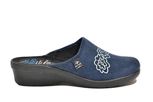 Fly flot l7947 wd blu ciabatte donna made in italy sottopiede anatomico zeppa 4 cm blu 37