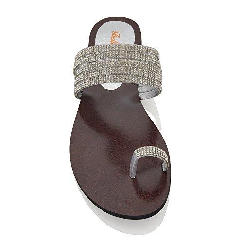 Essex Glam Sandalo Donna Estate Infradito Senza Allacciatura Finto Diamante Argento