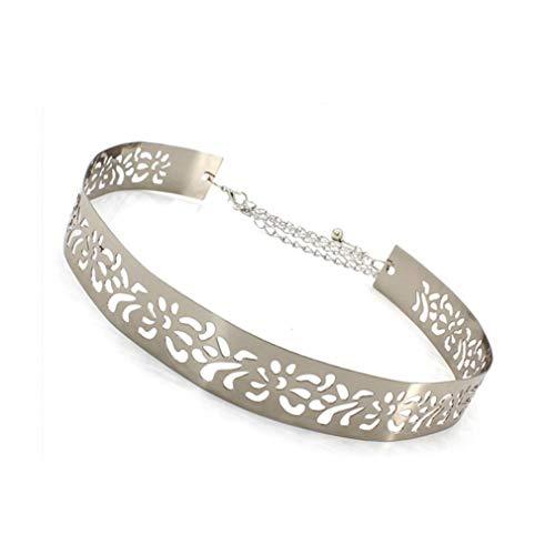 Damas Metal Espejo La Correa De Cintura Ajustable De Placa Metálica De La Pretina De Las Mujeres Cinturones Anchos