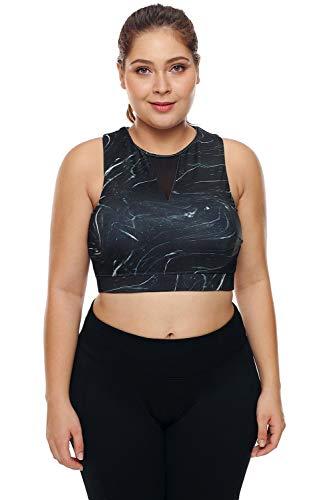 Boldgal Women's High-Neck Sleeveless Mesh Sports Bra (Black_X-Large)