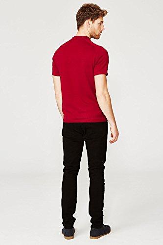 Threadbare Herren Marineblau Reißverschluss Polohemd Rot