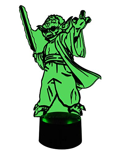 originelle 3d lámpara LED Yoda con espada láser