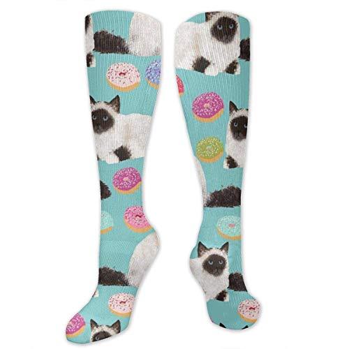 Nifdhkw Unisex Knee High Biramn Cat Donuts Mint Pattern Socks