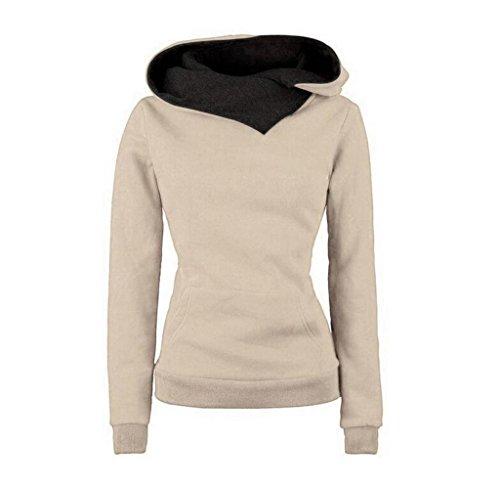 Rcool Damen Langarm Baumwoll Mischung Sweatshirt Hoodie Sweater mit Kapuze Baumwolle Mantel Pullover Kapuzenpullover Khaki (M, Khaki) (Armour Polo Shirt Classic Under)