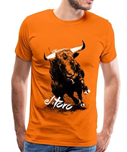 Spreadshirt EL Toro - Der Stier Männer Premium T-Shirt, L, Orange (Stier Und Torero Kostüm)
