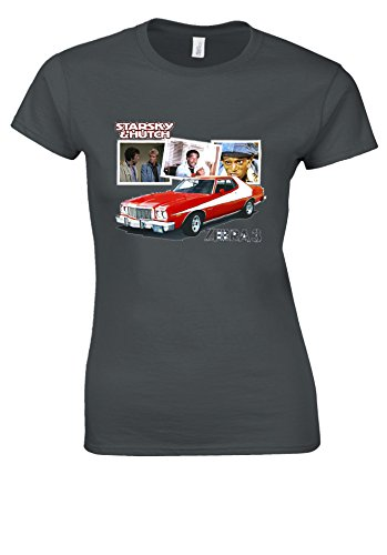 Ford Gran Torino Starsky Zebra & Hutch 3 retro 70s Charcoal Women T Shirt Top-M - Grau Hutch