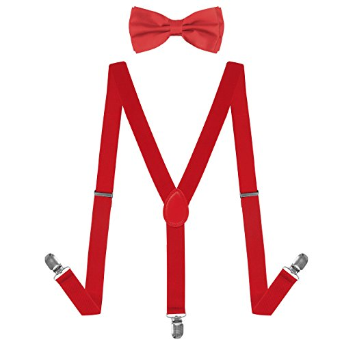 HBF mehrfarbig elastisch Hosenträger Y-Form Länge für Damen und Herren mit den starken Clips Playshoes und Halsschleife Fliege in verschiedenen Designs