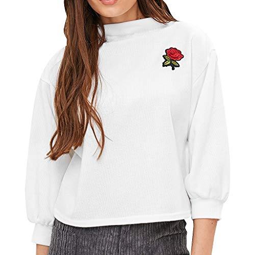 Kurze Full Sleeve Shirt (BIKETAFUWY Damen Lantern Sleeve Badge Patched Rundhalsausschnitt Langarm Pullover Lose Bluse mit Blumen Rosen Stickerein Hemd Shirt Sweatshirt Jacke Tops)