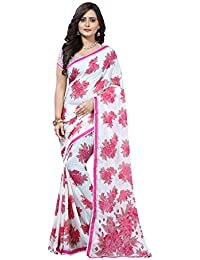 Jaanvi Fashion Women's Georgette Floral Printed Saree (Pink_With Lace)