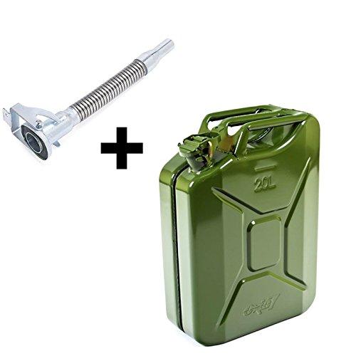 Metall Benzinkanister in Olivgrün 20 Liter mit UN-Zulassung inkl. Ausgießer in Silber (1, 20 Liter - Grün - mit Ausgießer Silber)