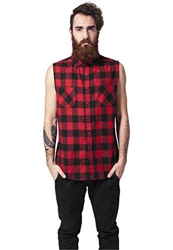 Urban Classics Sleeveless Checked Flanel Shirt Camicia senza maniche nero/rosso L